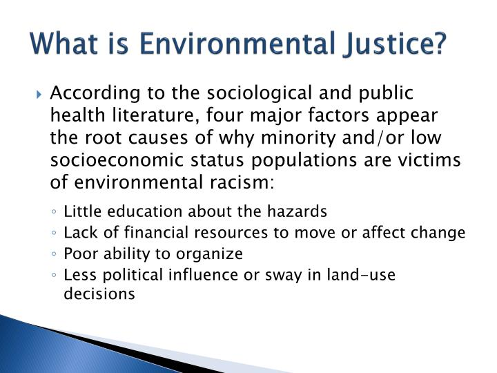 define environmental racism This article, published in the flagship academic journal in american geography, explores different ways of understanding environmental racism, and emphasizes white privilege as a particularly influential form of racism that has shaped urban and suburban development in the united states.