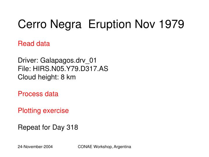 Cerro Negra  Eruption Nov 1979