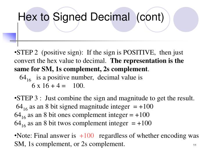 Hex to Signed Decimal  (cont)