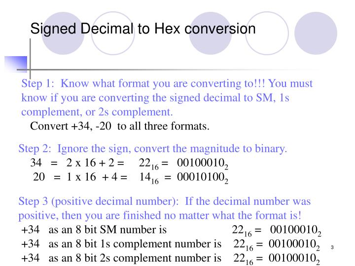 Signed Decimal to Hex conversion