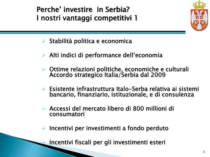 Perche' investire  in Serbia?