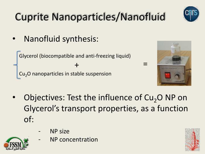 Cuprite Nanoparticles/Nanofluid