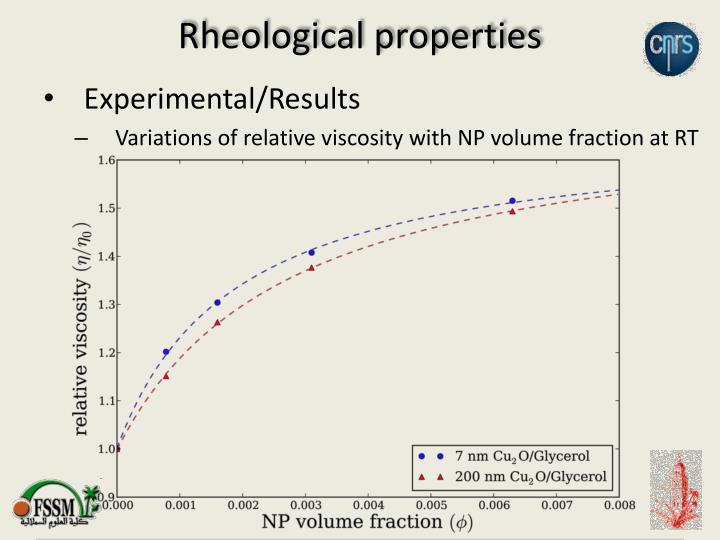 Rheological properties