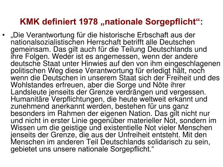 """KMK definiert 1978 """"nationale Sorgepflicht"""":"""