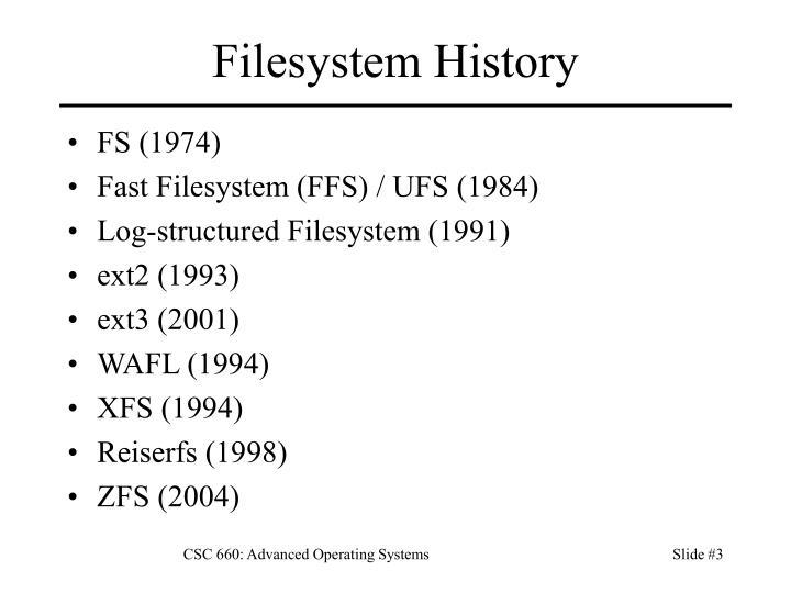 Filesystem History