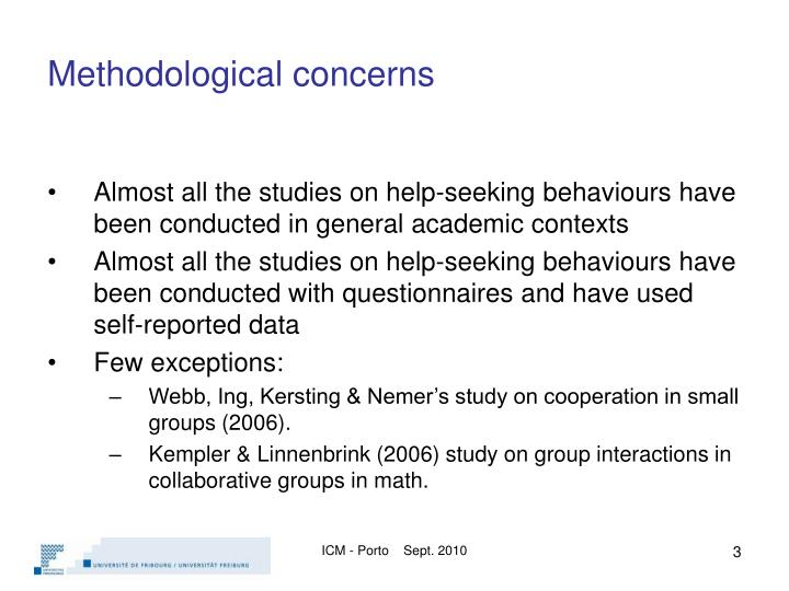 Methodological concerns