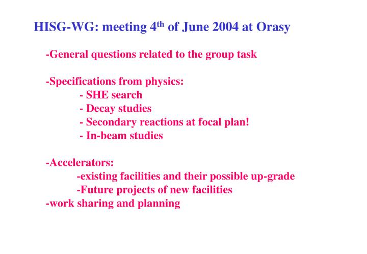 HISG-WG: meeting 4