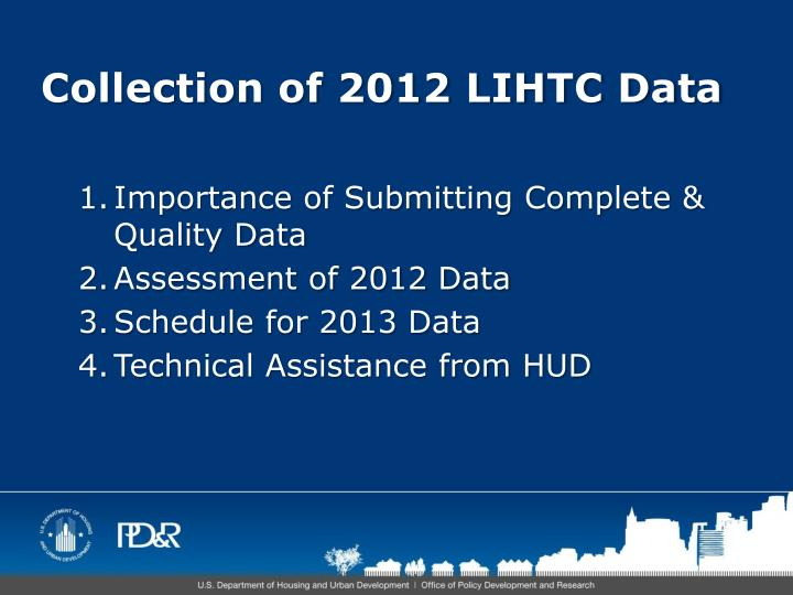Collection of 2012 LIHTC Data