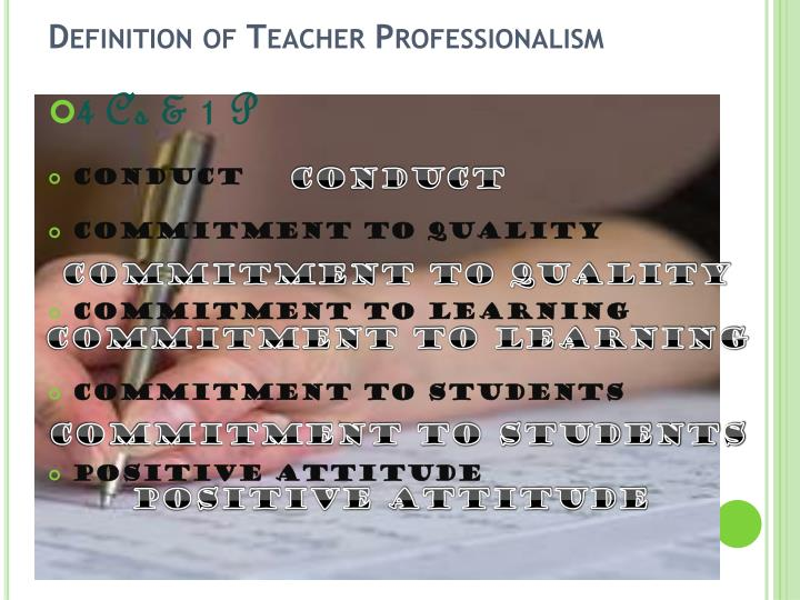 Definition of Teacher Professionalism