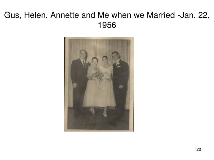 Gus, Helen, Annette and Me when we Married -Jan. 22, 1956