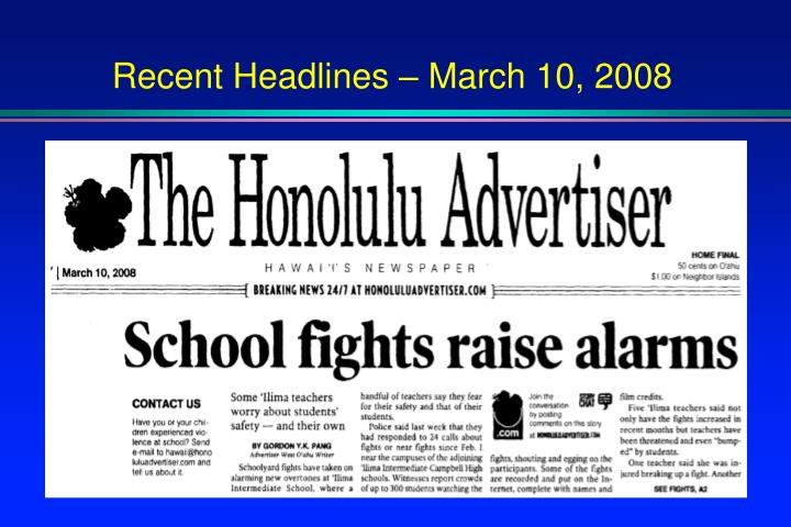 Recent Headlines – March 10, 2008