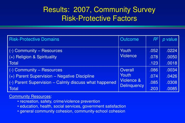 Results:  2007, Community Survey
