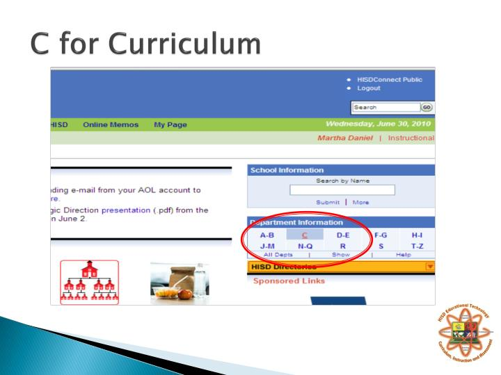 C for Curriculum