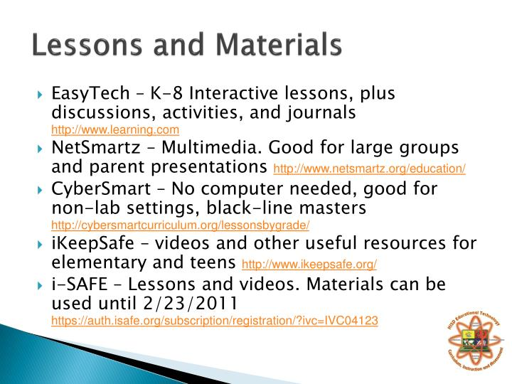 Lessons and Materials