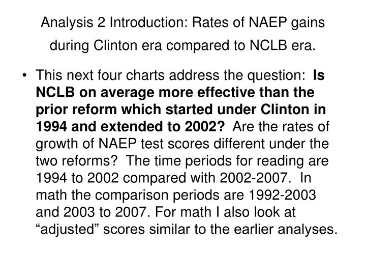 Analysis 2 Introduction: Rates of NAEP gains during Clinton era compared to NCLB era.