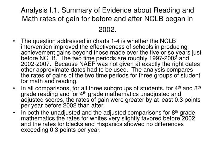 Analysis I.1. Summary of Evidence about Reading and Math rates of gain for before and after NCLB began in 2002.