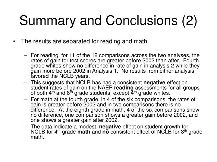 Summary and Conclusions (2)