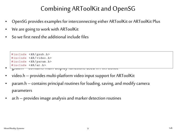 Combining ARToolKit and OpenSG