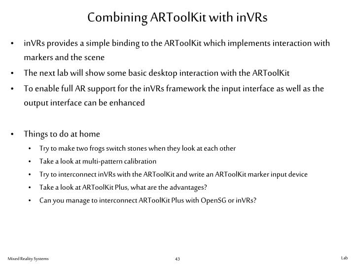 Combining ARToolKit with inVRs
