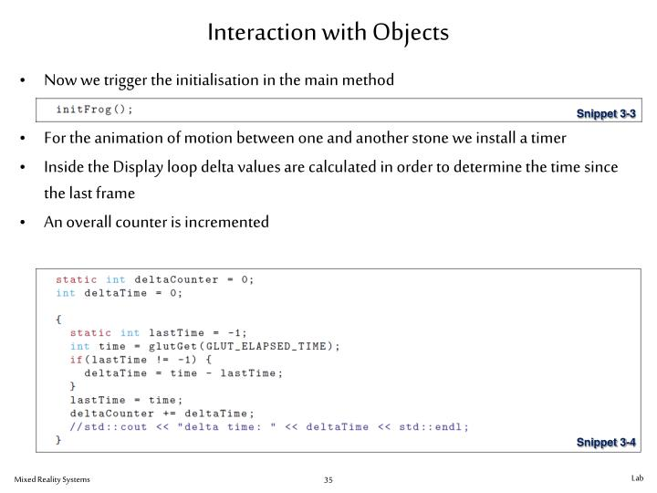 Interaction with Objects