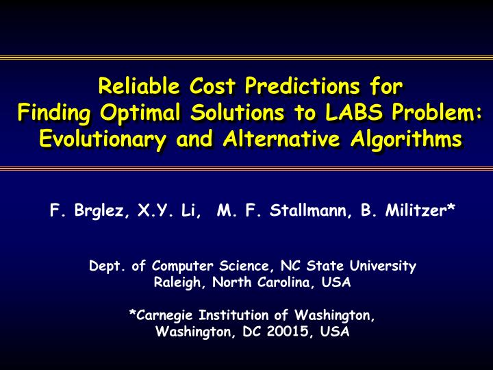 Reliable Cost Predictions for