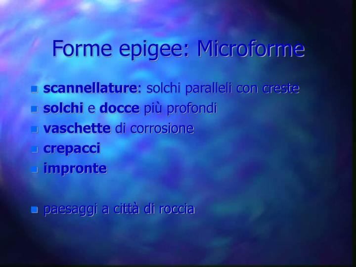 Forme epigee: Microforme