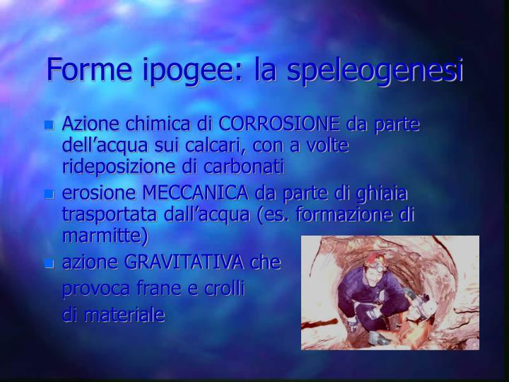 Forme ipogee: la speleogenesi
