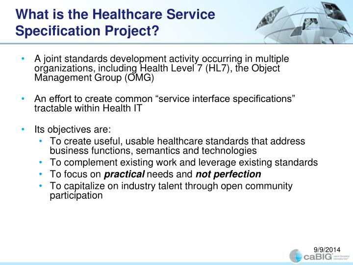 What is the Healthcare Service Specification Project?