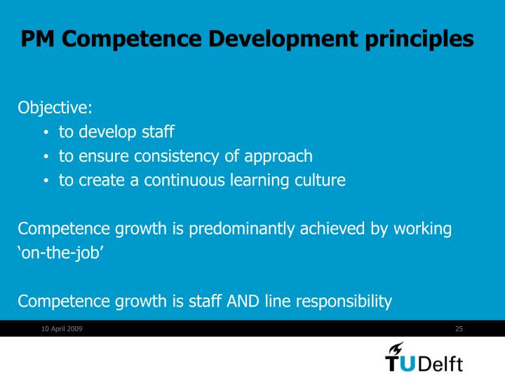 PM Competence Development principles