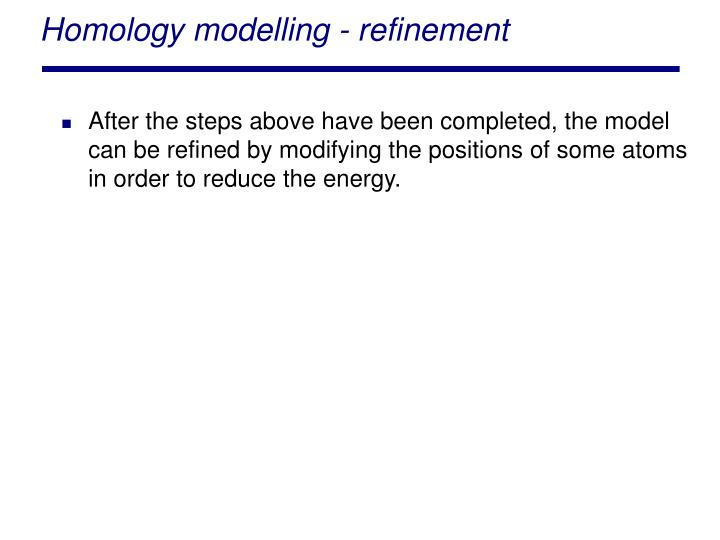 Homology modelling - refinement