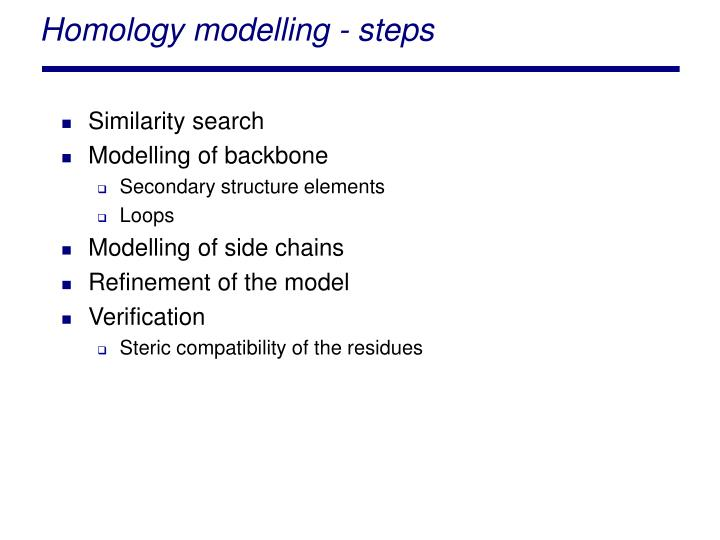 Homology modelling - steps