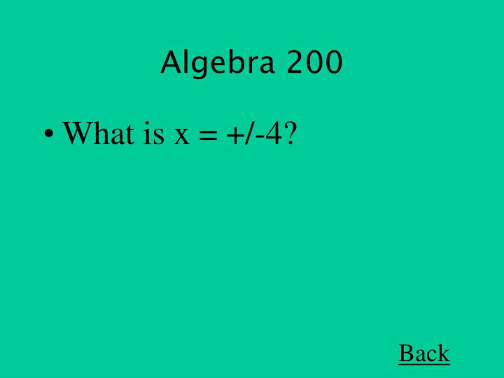 Algebra 200