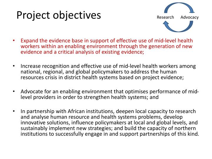 Project objectives research advocacy