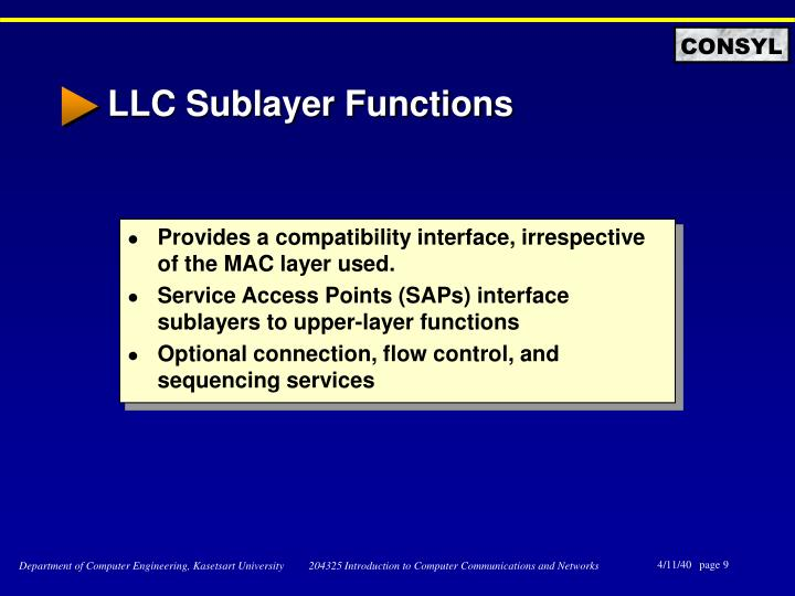 LLC Sublayer Functions