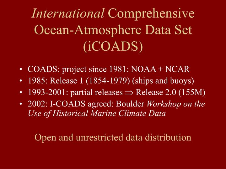 International comprehensive ocean atmosphere data set icoads