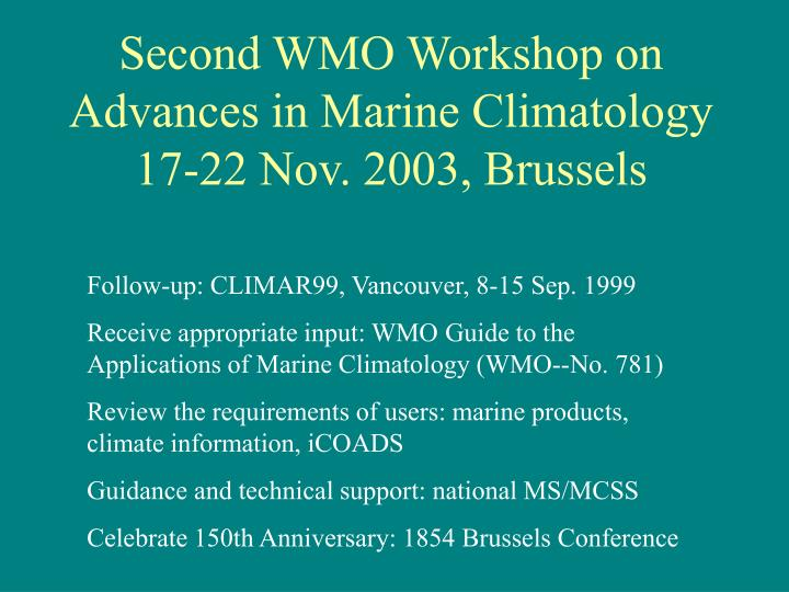 Second WMO Workshop on Advances in Marine Climatology
