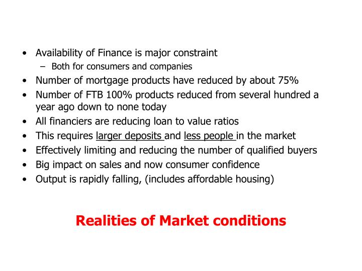 Availability of Finance is major constraint