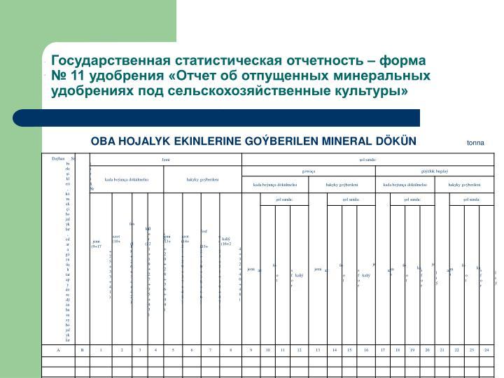 Государственная статистическая отчетность – форма