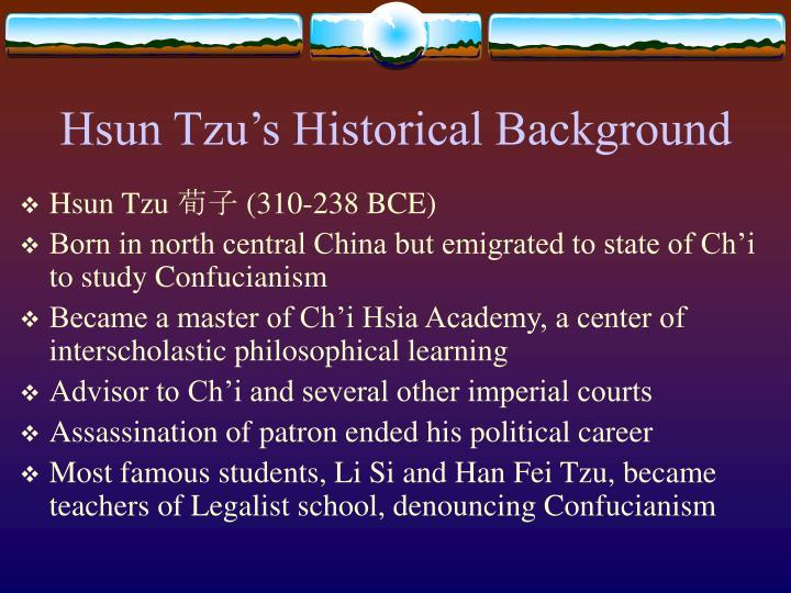 Hsun Tzu's Historical Background