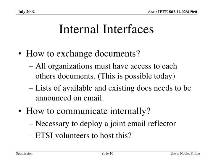 Internal Interfaces