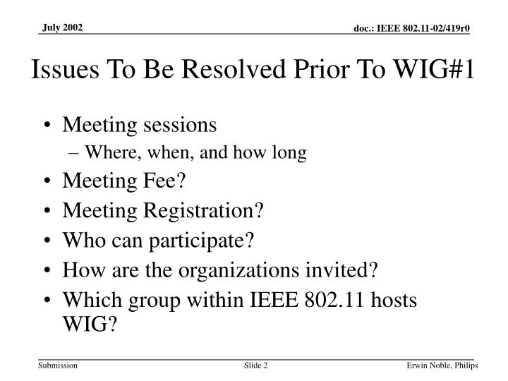 Issues to be resolved prior to wig 1