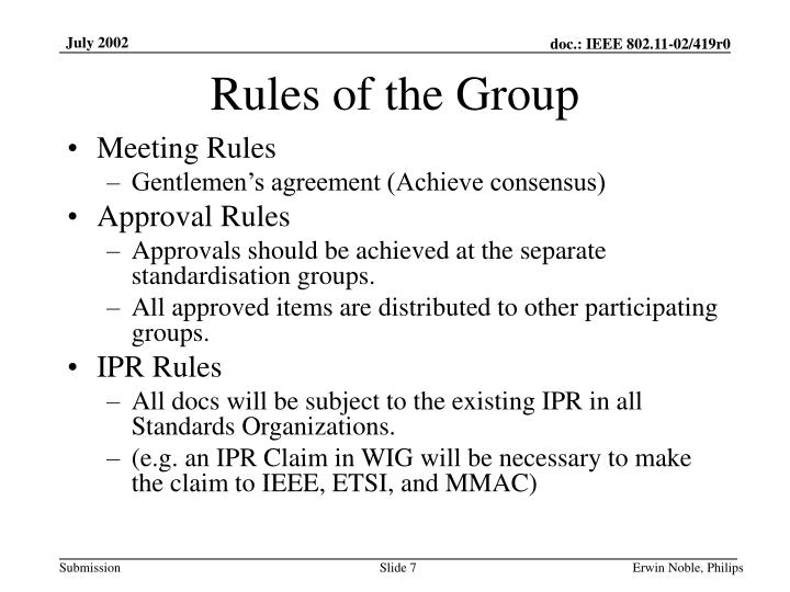 Rules of the Group