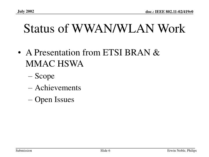 Status of WWAN/WLAN Work