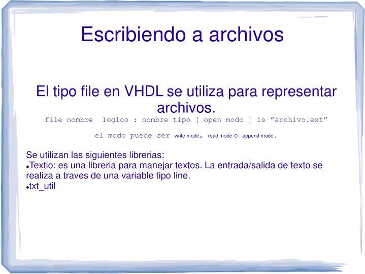 El tipo file en VHDL se utiliza para representar archivos.