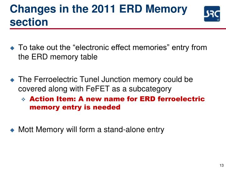 Changes in the 2011 ERD Memory section