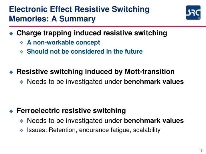 Electronic Effect Resistive Switching Memories: A Summary
