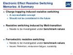 electronic effect resistive switching memories a summary