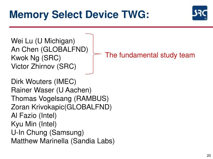 Memory Select Device TWG: