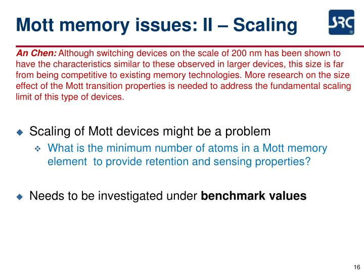 Mott memory issues: II – Scaling