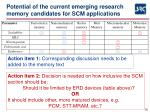 potential of the current emerging research memory candidates for scm applications